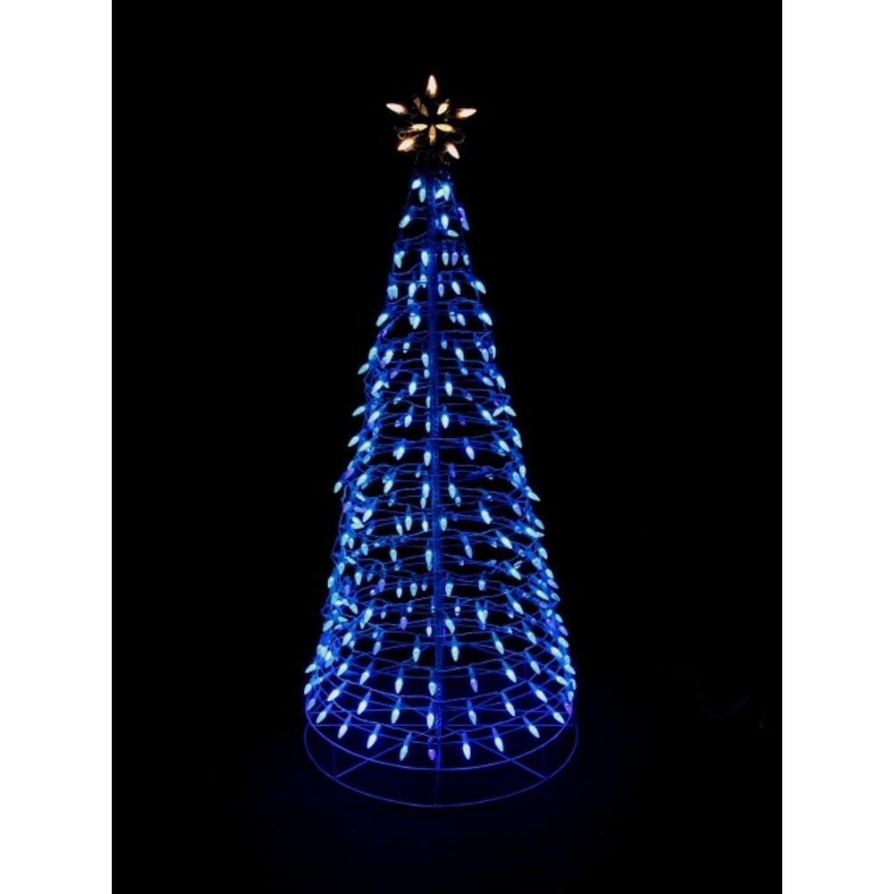 home accents holiday 6 ft pre lit led blue twinkling tree sculpture with star