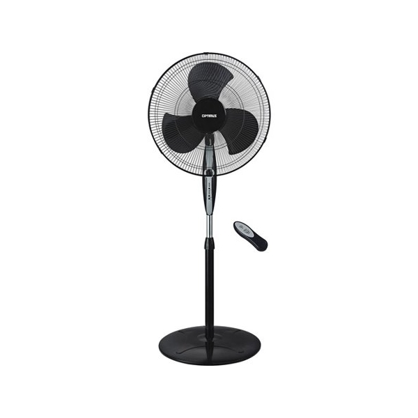 "Optimus 18"" Black Oscillating Stand Fan with Remote Control"
