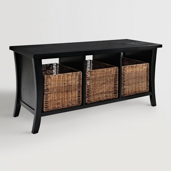 Cost Plus World Market Black Wood Cassia Entryway Storage Bench with Baskets by World Market