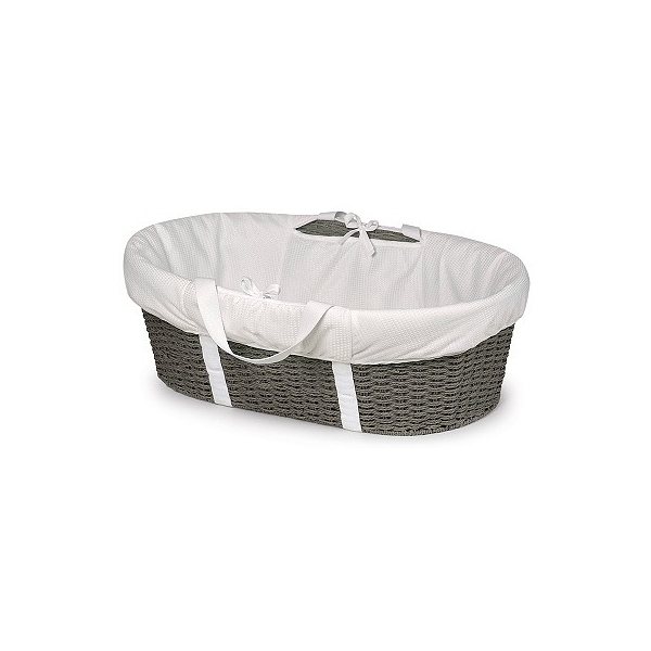 Badger Basket Wicker-Look Woven Baby Moses Basket with Bedding - Gray/White