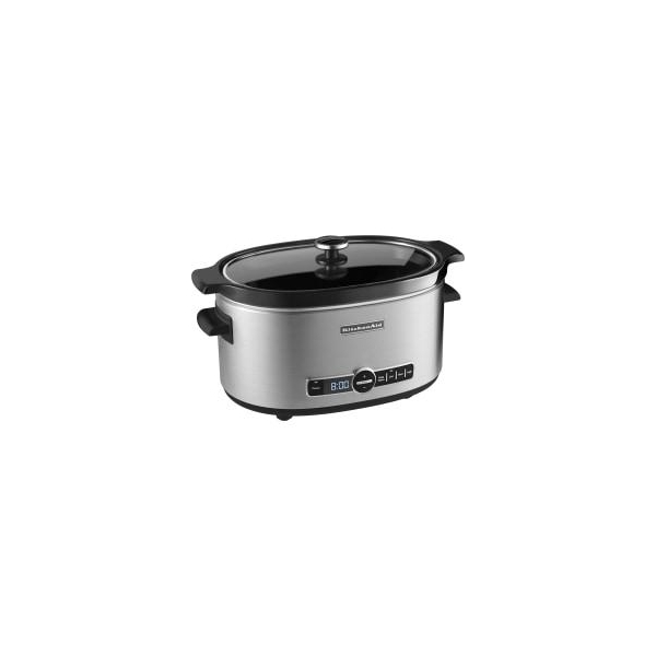 KitchenAid(R) 6-Quart Slow Cooker With Solid Glass Lid, Black/Silver
