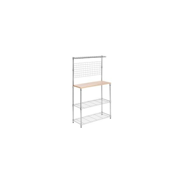 Honey Can Do Honey-Can-Do Urban Steel Baker's Rack With Wood Cutting Board, 2-Tiers, Chrome/Wood